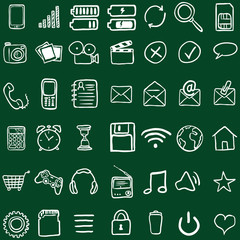 Vector Set of Chalk Doodle Mobile Icons