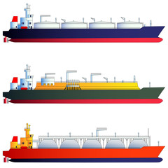 Oil tanker and gas tankers, LNG carriers. Vector illustration