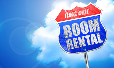 room rental, 3D rendering, blue street sign