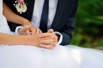 bride and groom, Wedding couple tender touch