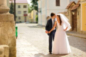 blurred photo of bride and groom, Wedding couple