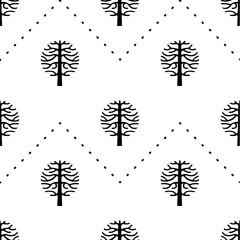 seamless pattern with vector tree silhouette