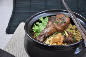 Big Chicken Drumstick with Noodle in Black Bowl