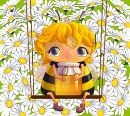 Bee with a jar of honey. Cute little insect on a swing on a background of daisies. Natural foods. Vector illustration eps 10