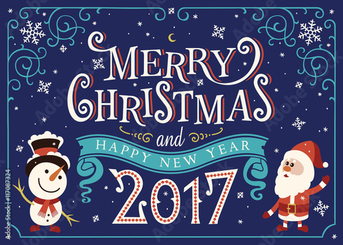 2017 happy new year greeting card christmas card with santa claus 2017 happy new year greeting card christmas card with santa claus and snowman m4hsunfo