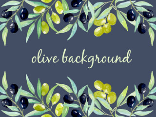 Watercolor background with olives