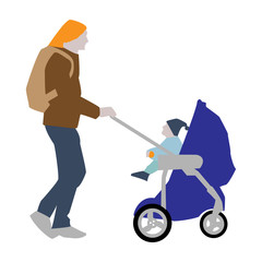 Vector illustration of a father with a backpack carries a child in a stroller