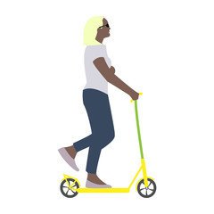 Vector illustration of a girl resting in summer rides a scooter
