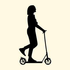 Vector illustration of a silhouette of a girl resting in summer rides a scooter