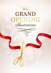 Grand opening invitation card with cut red ribbon and gold sciss