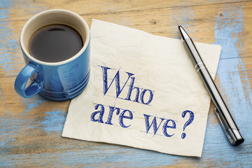 Who are we question on napkin Wall mural