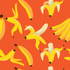 Yellow bananas on an orange background seamless pattern. EPS 10 vector.