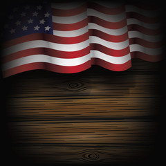 Wooden American flag background. EPS 10 vector.