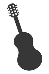 flat design acoustic guitar icon vector illustration