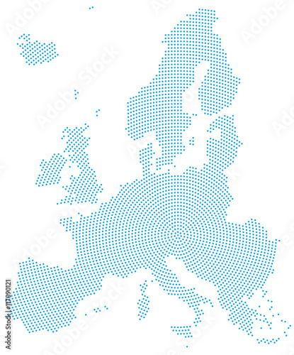 Europe map radial dot pattern  Blue dots going from the center