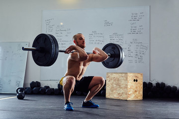 Barbell front squat exercise