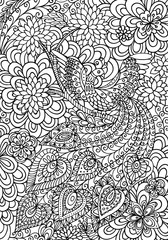 Peacock and floral garden coloring page. Creative vector illustration.