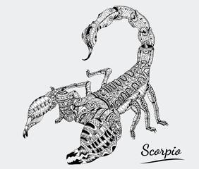 scorpio zentangle of zodiac.scorpion tattoo on gray background.