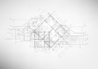 Abstract architectural drawings. Wall mural