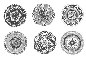 Set of hand drawn mandalas. Cfn be used for coloring books, tattoo, mehendi and others.