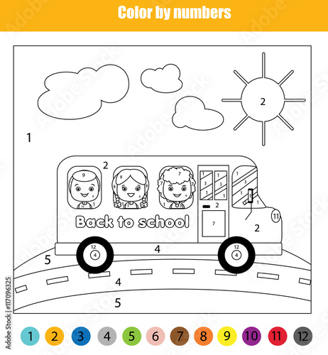 coloring page with kids in school bus color by numbers. Black Bedroom Furniture Sets. Home Design Ideas