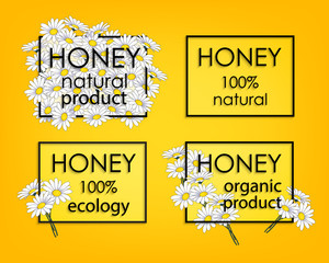 Natural honey. Organic food. A set of banners