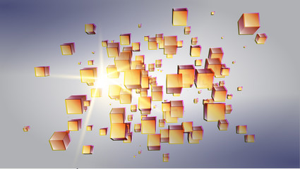Vector illustration of the scattered in perspective cubes over shining light source. Background, template for web and print design appealing for abstract, futuristic, scientific, party, event theme.