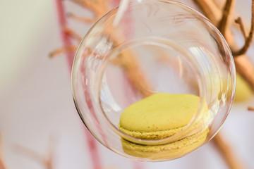 Lemon macaroon presented in a glass
