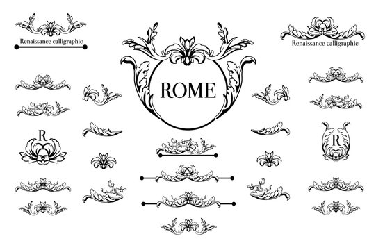 Vector set of calligraphic design elements, page decor, dividers and ornate headpieces.