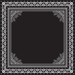 Black and white Bandana print design with borders for fashion textile.