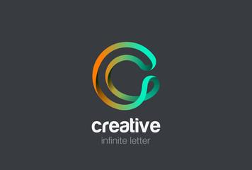 Letter C infinite ribbon Logo design vector template