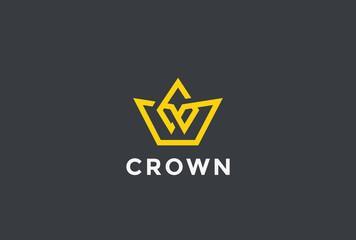 Crown Logo design vector Linear style Royal symbol Logotype icon