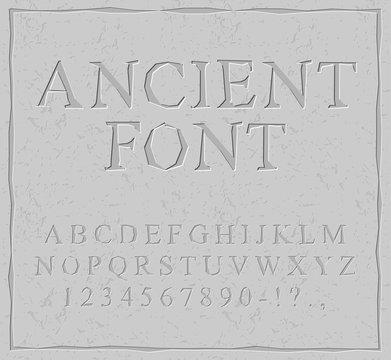 Ancient font. Carved on stone plate alphabet. Prehistoric alphab