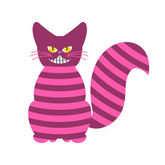 Cheshire Cat. Magic animal with long tail. Striped Fairy tale