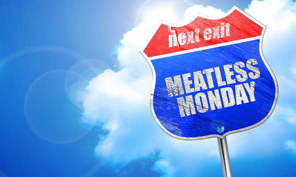 meatless monday, 3D rendering, blue street sign