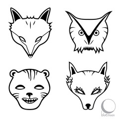 animal faces or masks, fox, owl, cougar and wolf logo or design in black and white