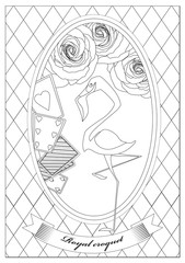 Coloring Page. Alice in Wonderland. Royal Croquet.