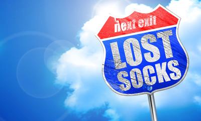 lost socks, 3D rendering, blue street sign