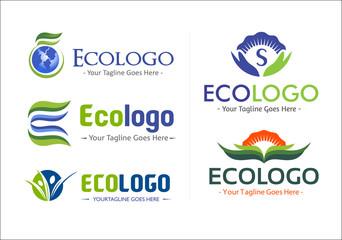 Eco company logo vector pack