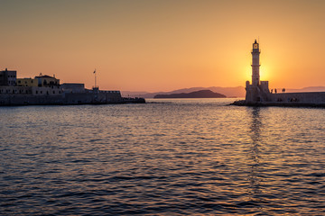 Chania, Crete, Greece: lighthouse in Venetian harbor