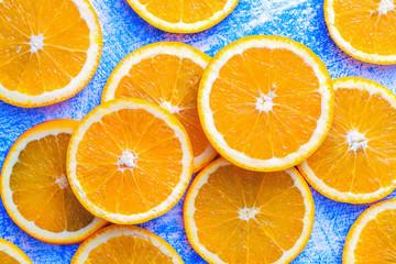 Orange sliced on a blue rustic wood table, Popular healthy fruit