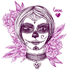 girl with day of the dead make up