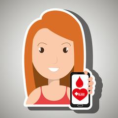 woman crooss smartphone graphic vector illustration eps 10