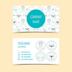 Business cards for plastic surgery clinic . Promotional products. Line icons. Flat design. Vector