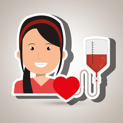 woman blood heart red graphic vector illustration