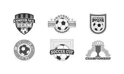 Set of soccer football badge logo design templates. Sport team identity football logo vector isolated on white background. Collection of soccer themed football logo graphics emblem game icon.