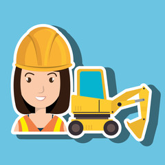 woman construction tool work vector illustration graphic
