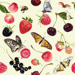 Berry butterfly seamless pattern.