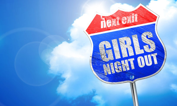 girls night out, 3D rendering, blue street sign