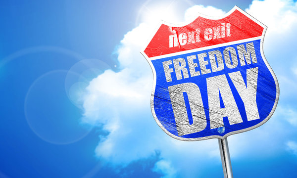 freedom day, 3D rendering, blue street sign